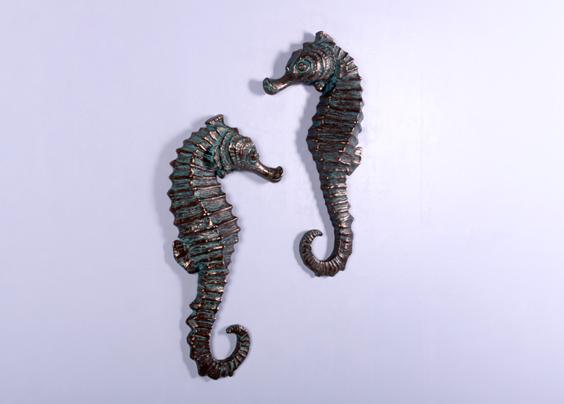 Seahorse Wall Decor (Set Of 2) In Greenish Bronze Finish