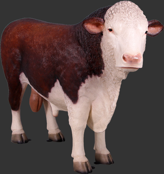 Hereford Bull Brown/White Statue