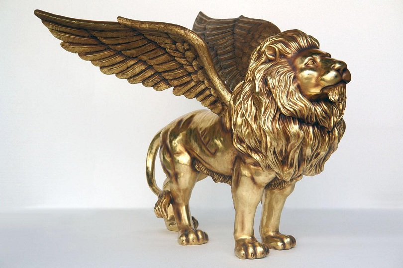 Fiberglass Winged Lion Statues
