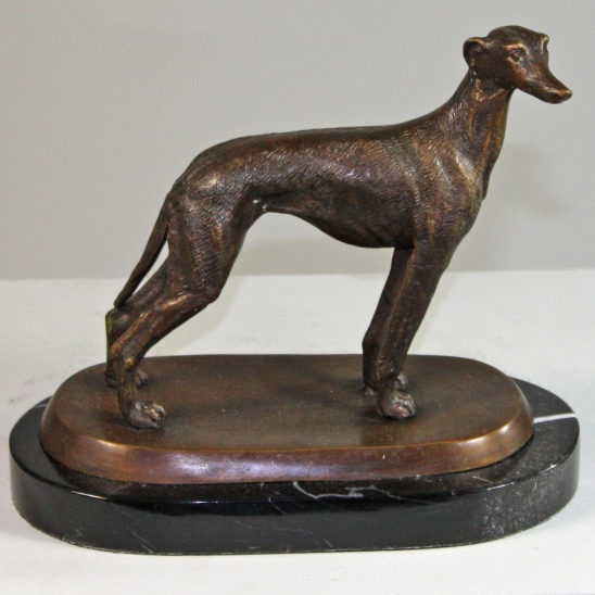 Bronze Greyhound Standing on Marble Base