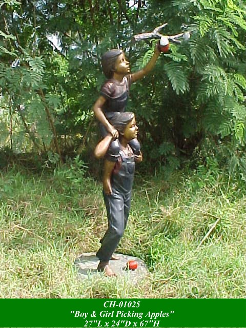 Bronze Young Boy and Girl Picking Apples