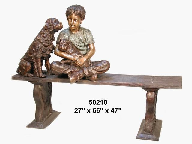Bronze Boy with Two Dogs Sitting on Bench