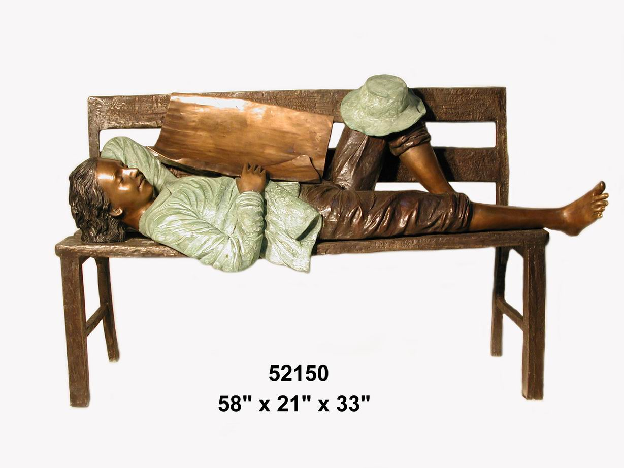 Bronze Boy Sleeping on Bench