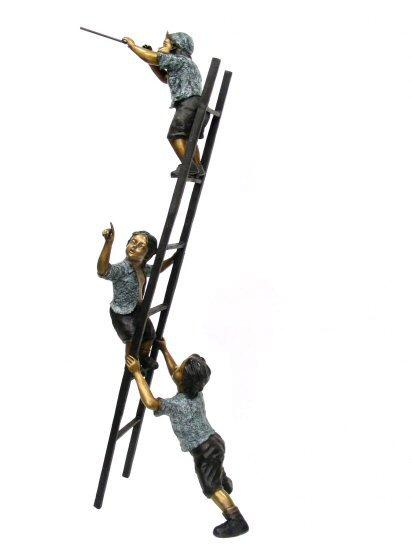Bronze Three Kids On Stairs 100""