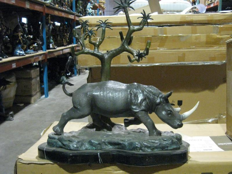 Rhino with Marble Base