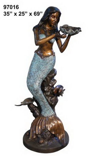Bronze Mermaid with Shell Fountain