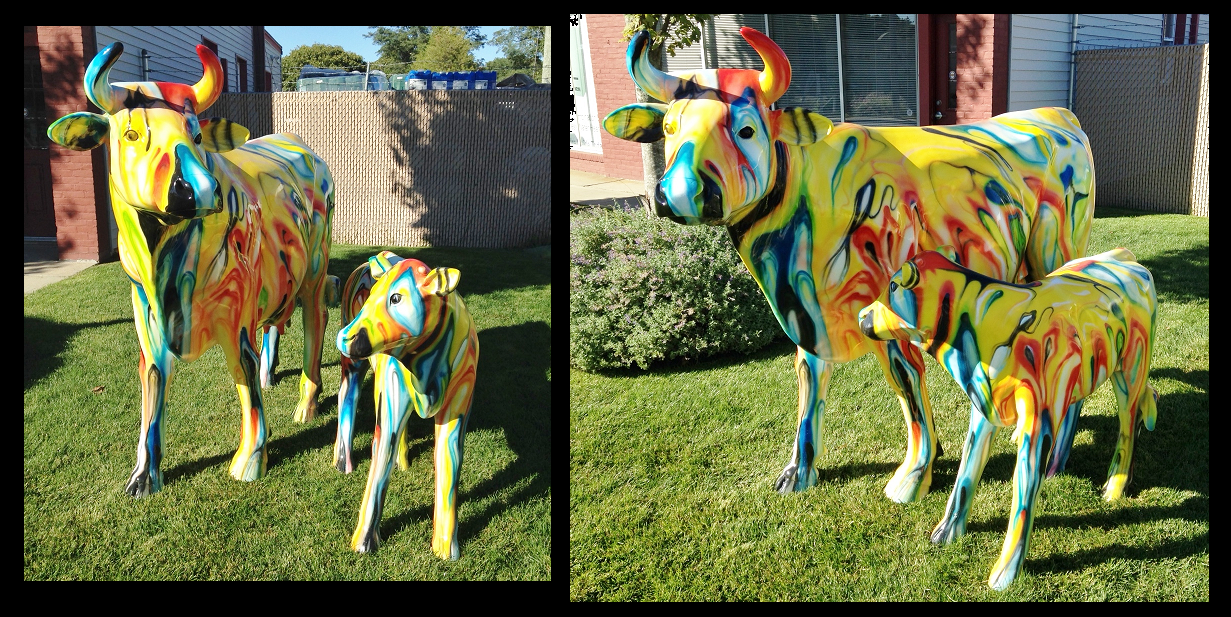 Popart Cow and Calf