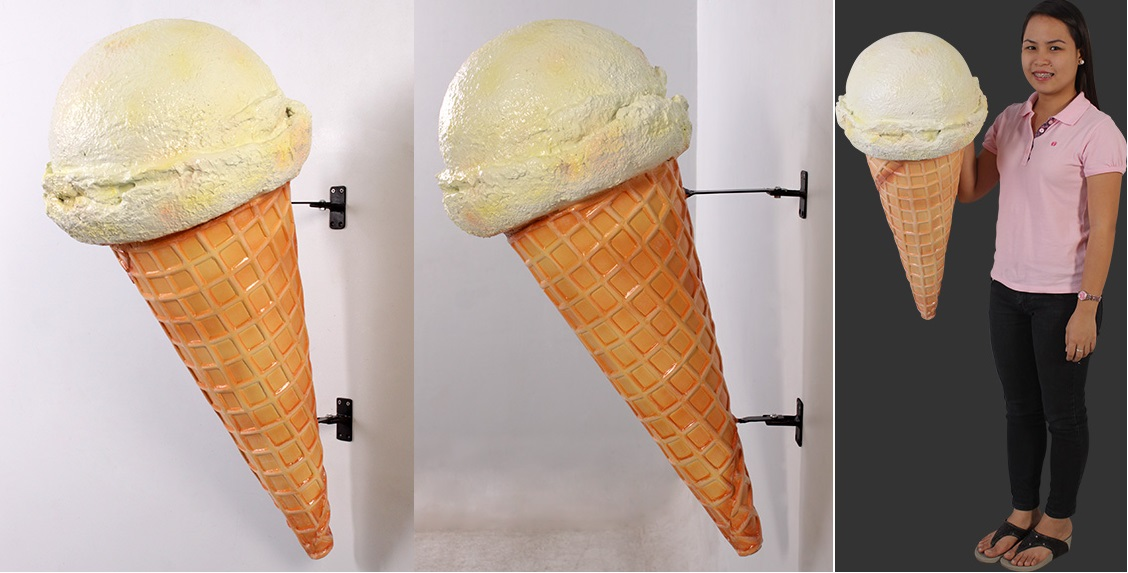 Hard Vanilla Ice Cream Cone (hangs on wall)