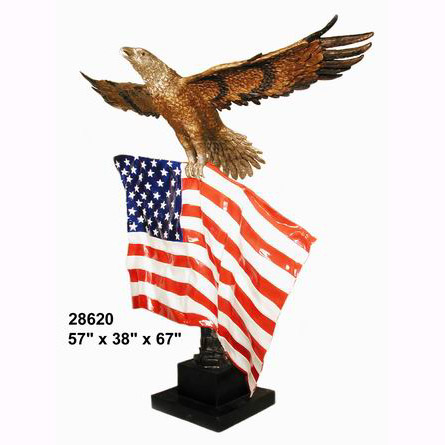 Bronze Eagle With the American Flag