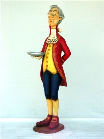 English-Style Butler Holding Tray