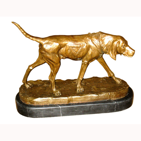 Bronze Bloodhound with Marble Base