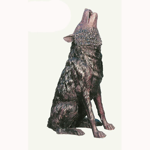 Bronze Wolf Howling Statue