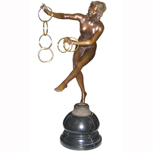 Bronze Deco Girl with Hoops