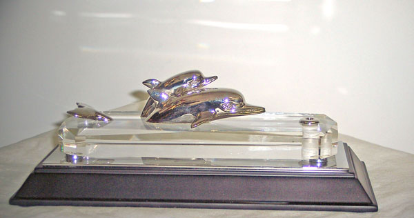 """ Two Dolphins "" on Lucite Base"