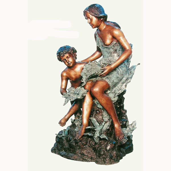 Bronze Mother and Son Fountain