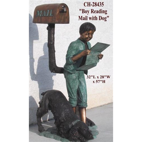 Bronze Boy Reading Mail with Dog