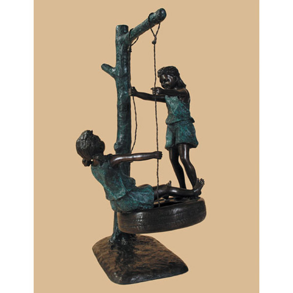 Bronze Children Swinging on a Tire
