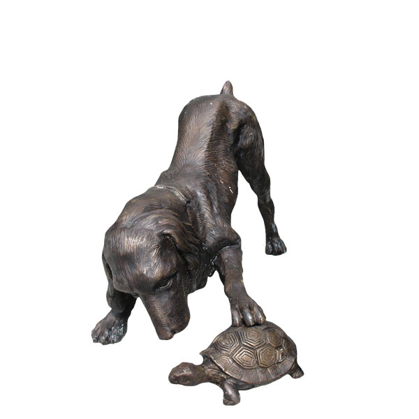 Bronze Dog with Turtle