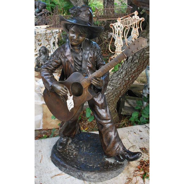 Bronze Boy Playing Guitar