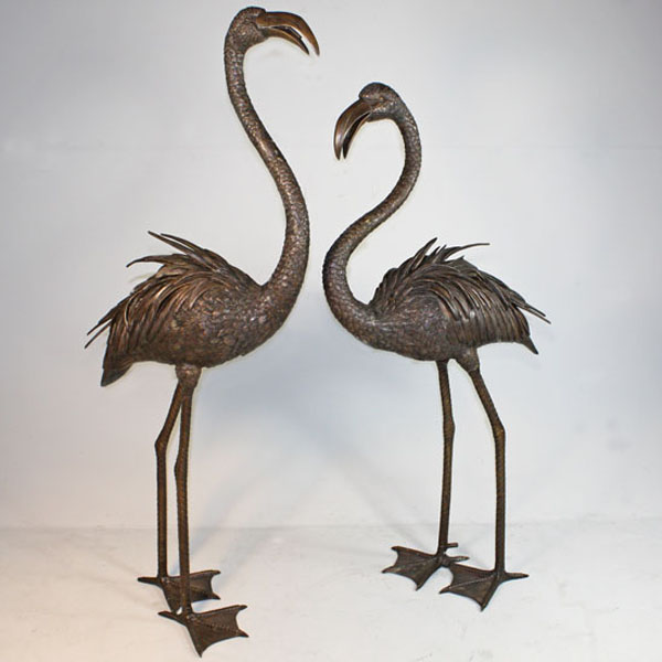 Pair of Bronze Flamingo Fountain