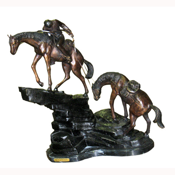 Bronze Man with Two Horses on Marble Base