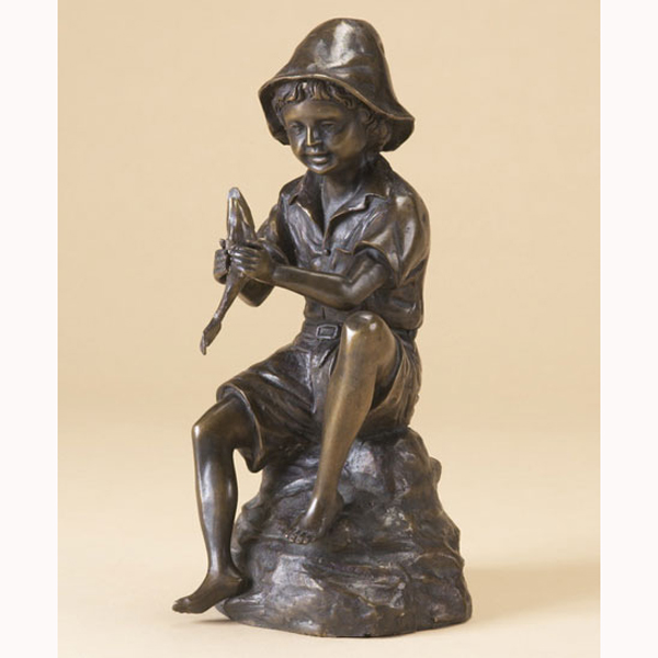Bronze Boy with Fish Fountain