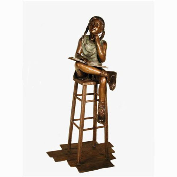 Bronze Girl reading on Stool - Click Image to Close