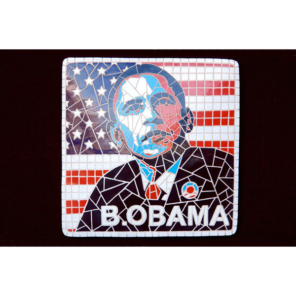 Man in Mosaic Decor Barack Obama