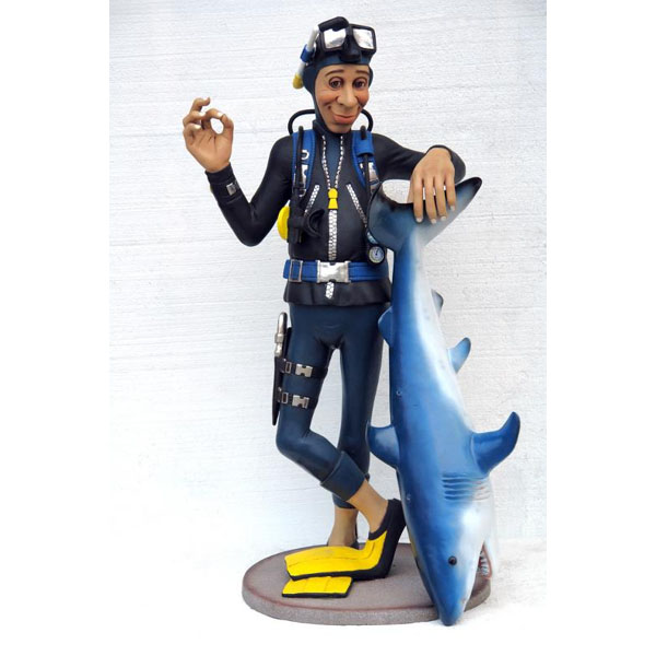 Diver With Shark Statues