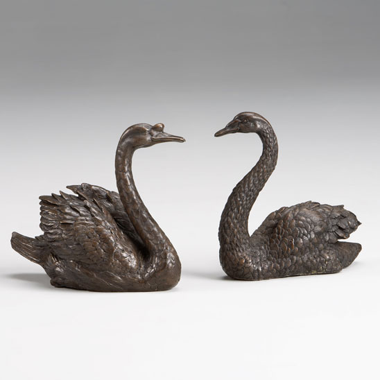 Bronze pair of Swans