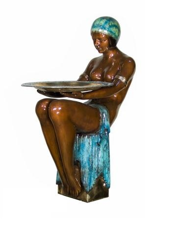 Bronze Sitting Lady With Tray